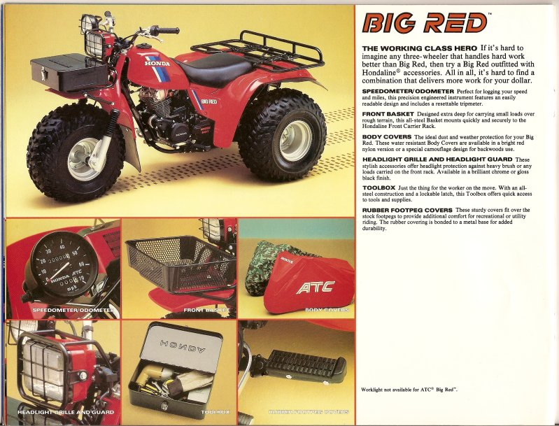 Three Wheeler Accessories : The honda atc brochure page