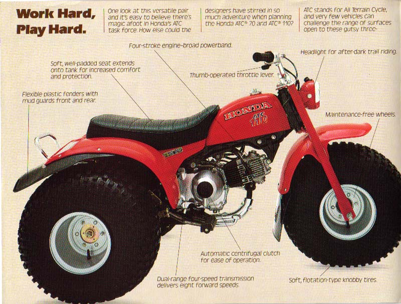 Honda Atc We Used To Have These And Go Riding With Folks Every Weekend Vintage Honda Motorcycles Honda Big Boy Toys