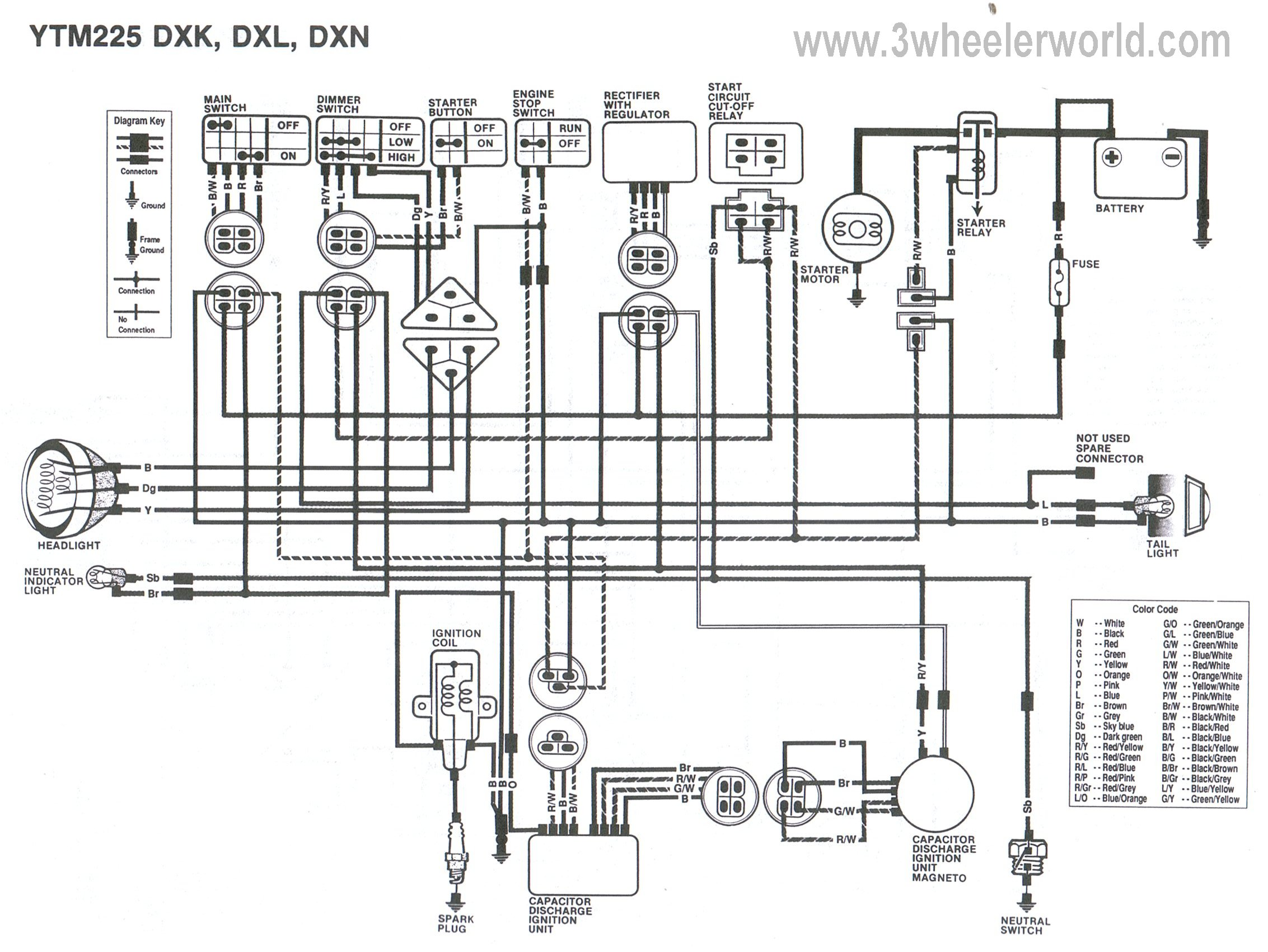 YTM225DXKDXLDXN 3 wheeler world tech help yamaha wiring diagrams 1986 yamaha moto 4 200 wiring schematic at bayanpartner.co